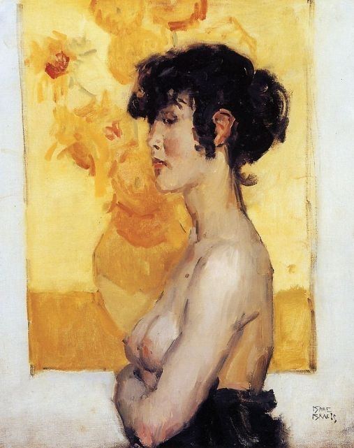 Isaac_Israels_-_Woman_before_''Sunflowers''_by_van_Gogh,_1917